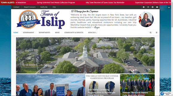 a screenshot of the new Town of Islip homepage, showing the first top 20% of the new page, with the new menus, Town Logo, and drone footage reel